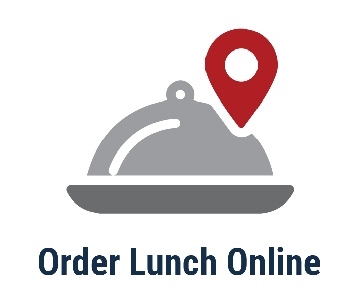 Order Lunch Online. Illustration of covered dish with map pin.