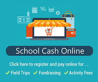 School Cash Online. Click here to register and pay online for field trips, fundraising, activity fees. Illustration of shop window with awning.